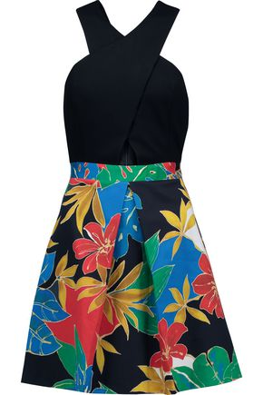 ALICE + OLIVIA Ali cutout stretch-jersey and printed cotton-blend mini dress
