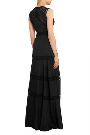 NEEDLE & THREAD Lace-paneled chiffon gown