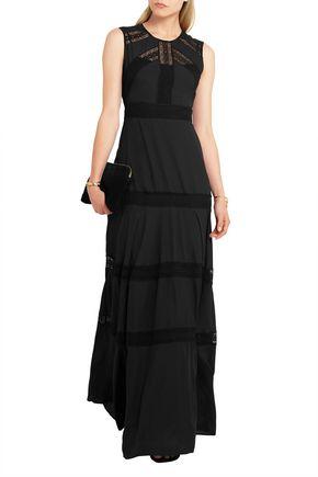 NEEDLE & THREAD Lace-paneled chiffon gown