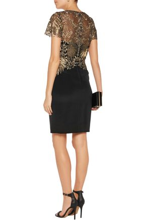 MARCHESA NOTTE Metallic embroidered tulle and stretch-silk mini dress