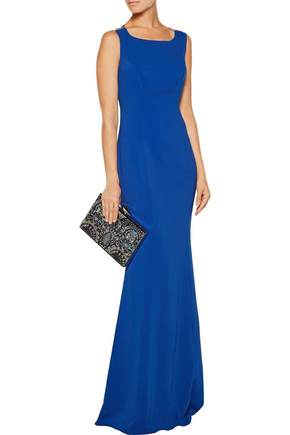 Embroidered tulle-paneled crepe gown   MARCHESA NOTTE   Sale up to 70% off    THE OUTNET