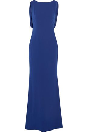MARCHESA NOTTE Draped embellished tulle-paneled crepe gown