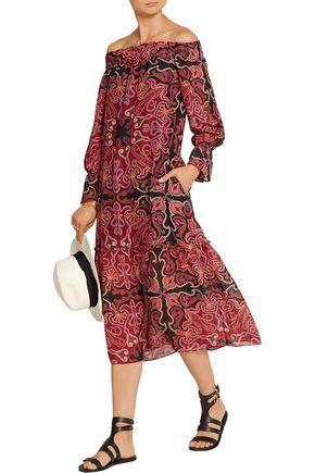 RACHEL ZOE Ariana off-the-shoulder printed silk-chiffon midi dress