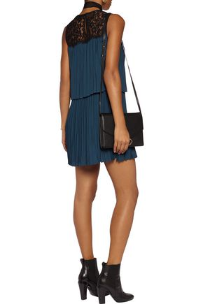 RACHEL ZOE Berenice lace-paneled pleated voile mini dress