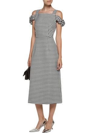 ... MOTHER OF PEARL Rowena cold-shoulder checked twill midi dress ...