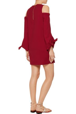 TIBI Cold-shoulder stretch-crepe mini dress