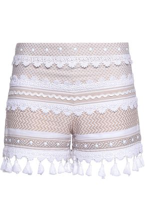 DODO BAR OR Embellished guipure lace-trimmed cotton-jacquard shorts