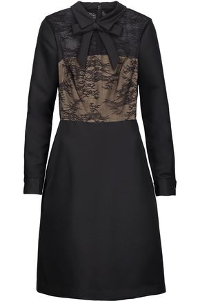MIKAEL AGHAL Bow-embellished lace-paneled satin-twill dress