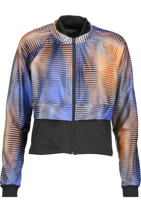KORAL Cropped layered printed stretch-jersey jacket