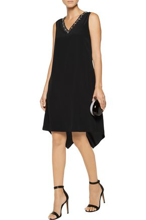 MAGASCHONI Embellished draped silk crepe de chine dress