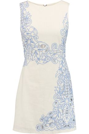 ALICE + OLIVIA Malin cutout embroidered cotton mini dress