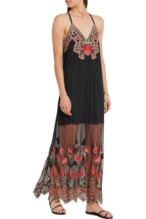 ALICE + OLIVIA Sally embroidered tulle maxi dress