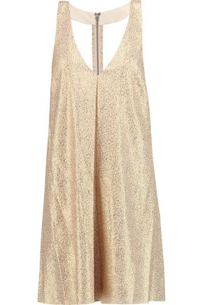 ALICE + OLIVIA Holland metallic silk-blend mini dress