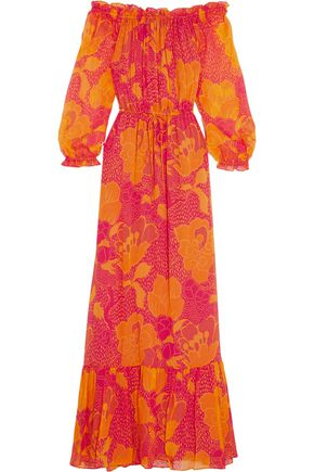DIANE VON FURSTENBERG Camila off-the-shoulder printed silk-chiffon maxi dress