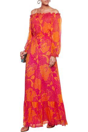 DIANE VON FURSTENBERG Camila off-the-shoulder printed silk-chiffon maxi dress