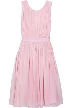 DIANE VON FURSTENBERG Letty grosgrain-trimmed pleated silk-chiffon dress
