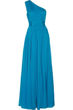 DIANE VON FURSTENBERG Ophelia one-shoulder ruched silk gown