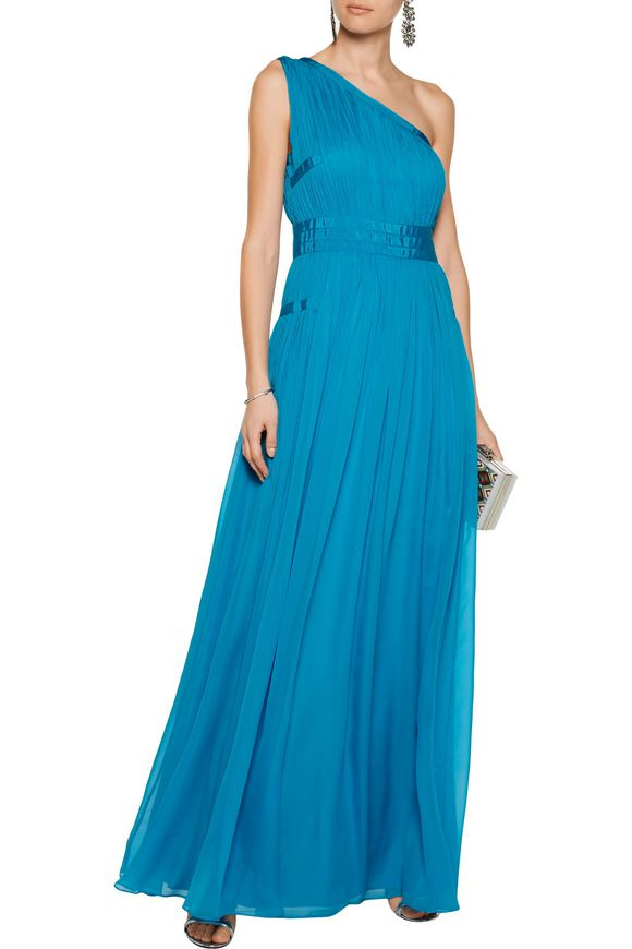 Ophelia one-shoulder ruched silk gown | DIANE VON FURSTENBERG | Sale up to  70% off | THE OUTNET