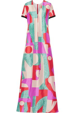 ROKSANDA Fluro printed silk-blend satin gown