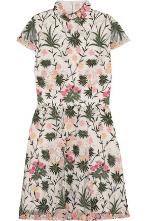 ALICE+OLIVIA Tari cutout embroidered tulle mini dress