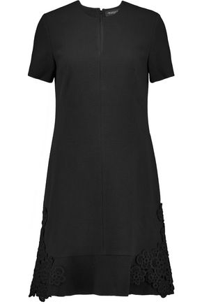 PRINGLE OF SCOTLAND Appliquéd textured stretch-wool mini dress
