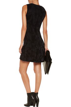 PRINGLE OF SCOTLAND Ribbed silk-jacquard and knitted mini dress