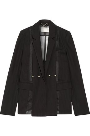JASON WU Silk-organza paneled wool blazer