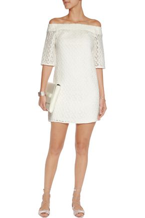 TIBI Off-the-shoulder embroidered tulle mini dress