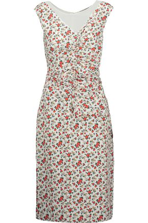 NINA RICCI Ruched floral-print silk crepe de chine midi dress
