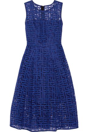 MILLY Pleated embroidered tulle dress