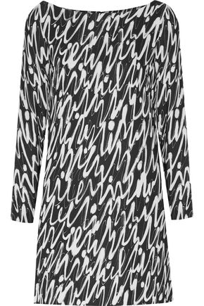 MILLY Graffiti printed crepe mini dress