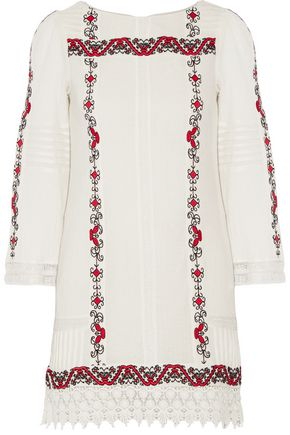 ALICE + OLIVIA Riska embroidered cotton-gauze mini dress