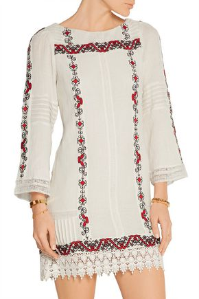 ALICE + OLIVIA Riska embroidered cotton-gauze mini dress