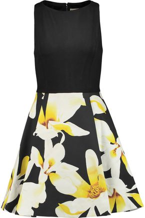 ALICE + OLIVIA Kourtney pleated printed cotton and jersey mini dress