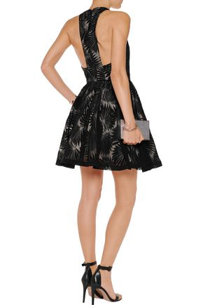 ALICE + OLIVIA Tevin cutout flocked tulle mini dress