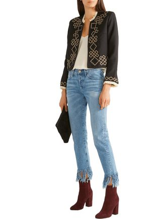 TALITHA Talia embellished appliquéd wool-twill jacket