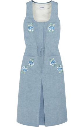 VILSHENKO Sid embroidered chambray midi dress