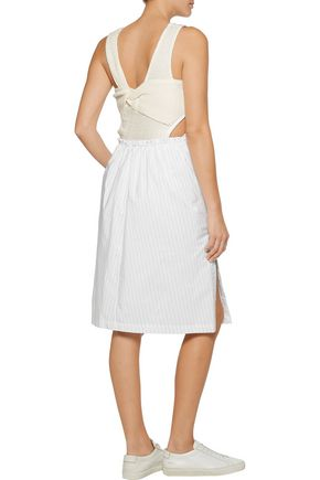 3.1 PHILLIP LIM Hoosier paneled pinstriped poplin and open-knit dress