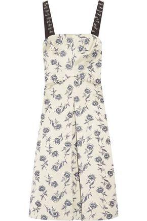 TORY BURCH Grosgrain-trimmed linen-blend floral-jacquard dress