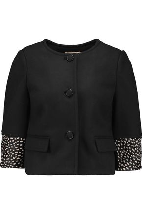 TORY BURCH Peggy calf hair-trimmed wool-blend jacket