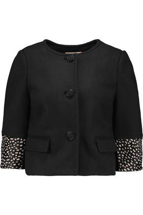 TORY BURCH Peggy calf hair-trimmed wool-blend jacket
