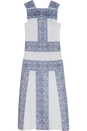 TORY BURCH Racquel broderie anglaise-paneled cotton-poplin midi dress