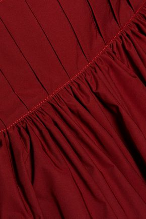 •ELLERY• Embroidered pleated taffeta mini dress
