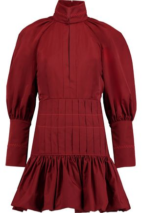 ELLERY Embroidered pleated taffeta mini dress