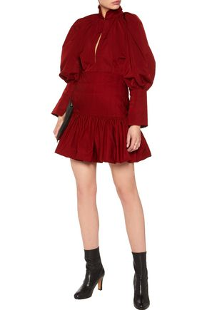 •ELLERY• Embroidered pleated taffeta mini dress
