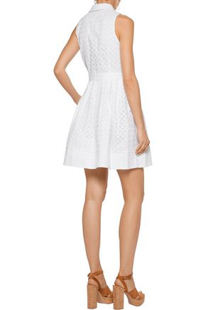 MILLY Broderie anglaise cotton-blend mini dress