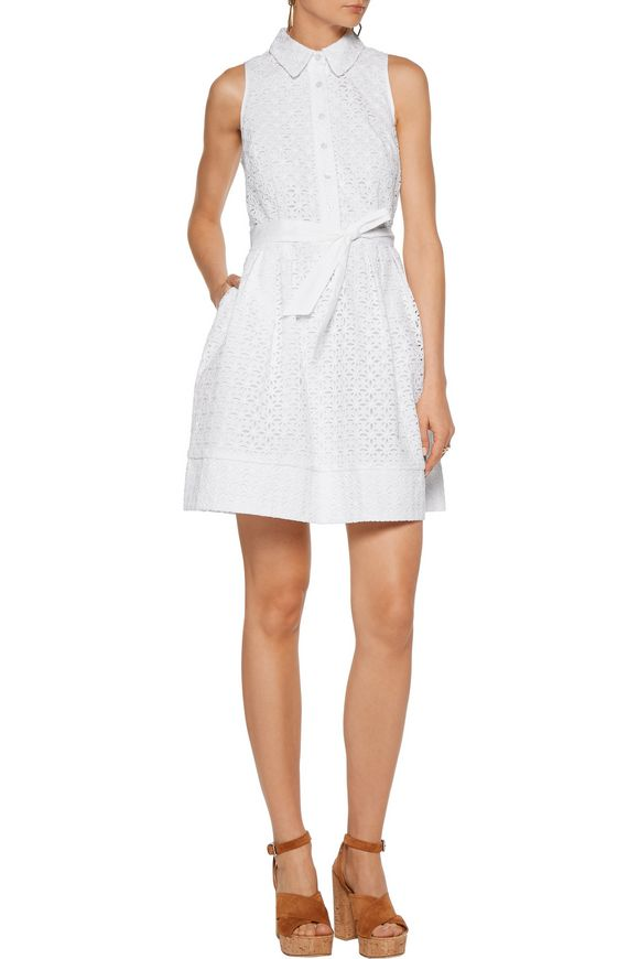Broderie anglaise cotton-blend mini dress | MILLY | Sale up to 70% off |  THE OUTNET