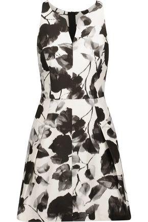 MILLY Floral-print cotton-blend twill mini dress