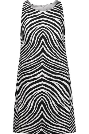 MILLY Zebra-print stretch-cotton mini dress