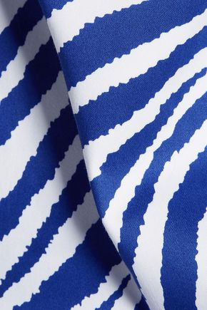 MILLY Printed stretch-cotton mini dress